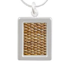 Woven Wicker Basket Silver Portrait Necklace