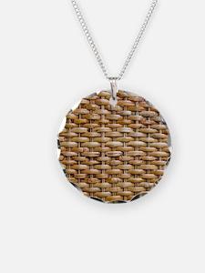 Woven Wicker Basket Necklace