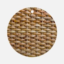 Woven Wicker Basket Round Ornament