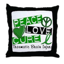 Peace Love Cure 1 TBI Throw Pillow