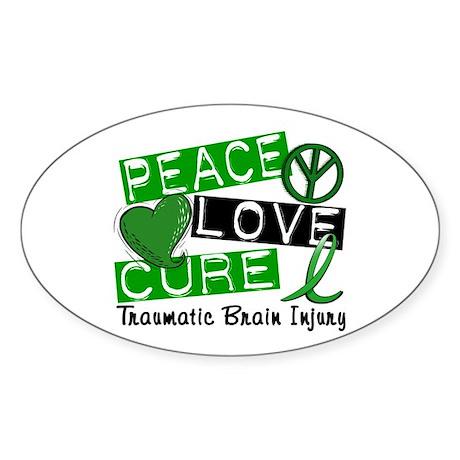 Peace Love Cure 1 TBI Sticker (Oval)