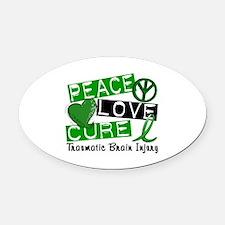 Peace Love Cure 1 TBI Oval Car Magnet