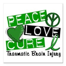 "Peace Love Cure 1 TBI Square Car Magnet 3"" x 3"""