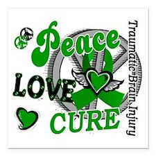 "Peace Love Cure 2 TBI Square Car Magnet 3"" x 3"""
