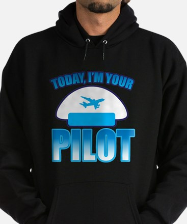 Im YOUR PILOT with Captain hat and jet plane Hoodi