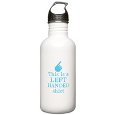 Left handed shirt in blue Sports Water Bottle