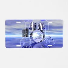Drum Set On Blue Lake Aluminum License Plate