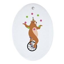 Juggling Bear Ornament (Oval)
