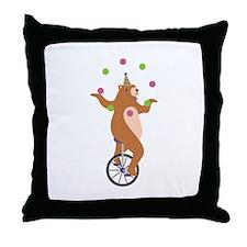 Juggling Bear Throw Pillow