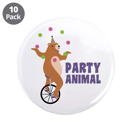 """PARTY ANIMAL 3.5"""" Button (10 pack)"""