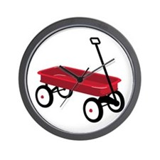Red Wagon Wall Clock