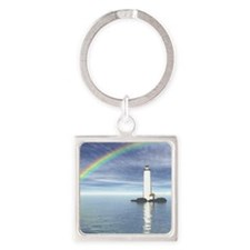 Light House Under Rainbo Square Keychain