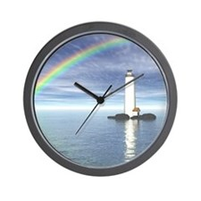 Light House Under Rainbo Wall Clock