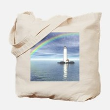 Light House Under Rainbo Tote Bag