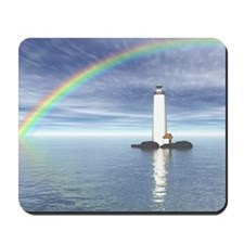 Light House Under Rainbo Mousepad