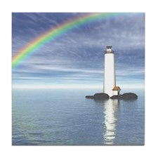 Light House Under Rainbo Tile Coaster