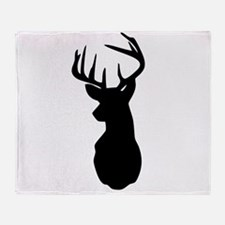 Buck Hunting Trophy Silhouette Throw Blanket