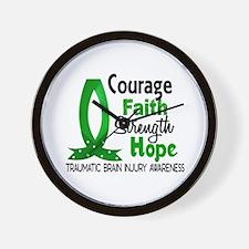 Courage Faith 1 TBI Wall Clock