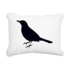 Blackbird Silhouette Rectangular Canvas Pillow