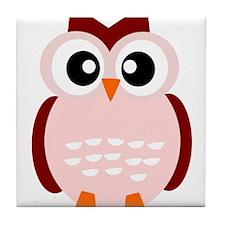 Pink Owl Tile Coaster