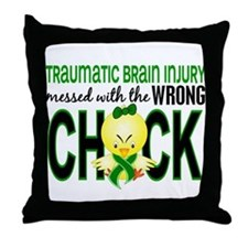 Messed With Wrong Chick 1 TBI Throw Pillow