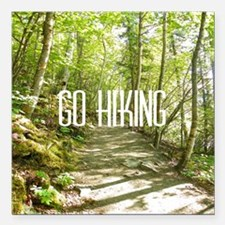 "Go Hiking Square Car Magnet 3"" x 3"""