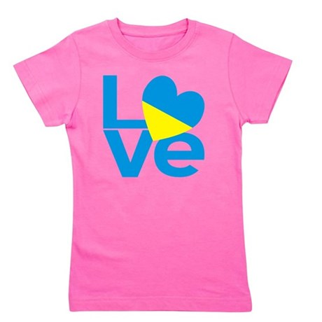 Blue Ukrainian LOVE Girl's Tee