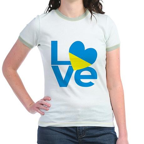 Blue Ukrainian LOVE Jr. Ringer T-Shirt