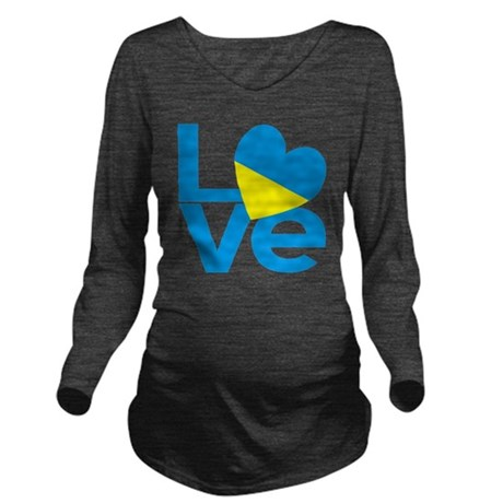 Blue Ukrainian LOVE Long Sleeve Maternity T-Shirt
