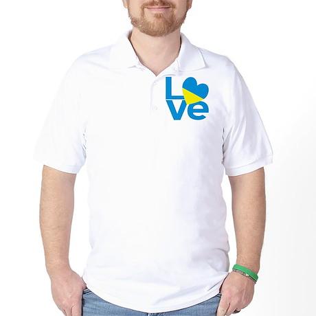Blue Ukrainian LOVE Golf Shirt