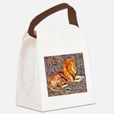 Lion, altered Image Canvas Lunch Bag