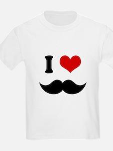 I Heart I Love Black Mustaches T-Shirt