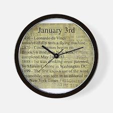 January 3rd Wall Clock