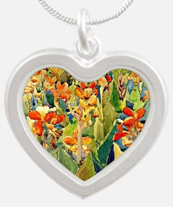 Prendergast - Bed of Flowers Silver Heart Necklace