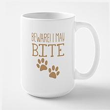 BEWARE! paws I may BITE! Dog/Cat biter Mugs