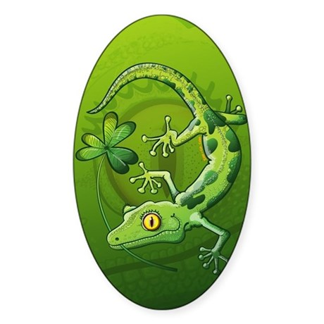 Saint Patrick's Day Gecko Sticker (Oval)