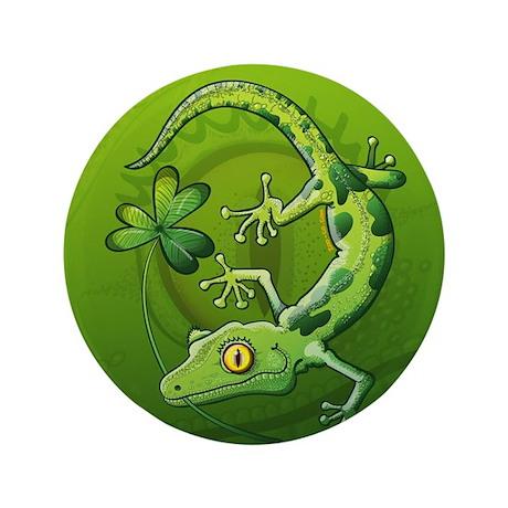 "Saint Patrick's Day Gecko 3.5"" Button"