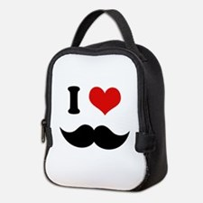 I Heart I Love Black Mustaches Neoprene Lunch Bag