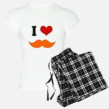 I Heart I Love Ginger Orange Mustache Pajamas