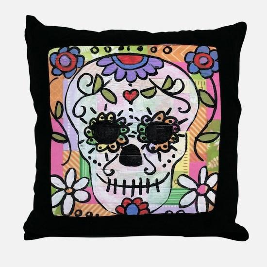 dia de los muertos art Throw Pillow