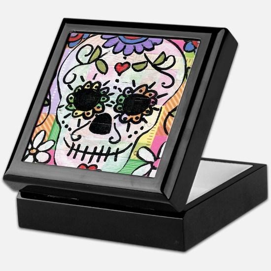 dia de los muertos art Keepsake Box