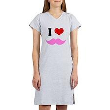 I Heart I Love Pink Mustache Women's Nightshirt