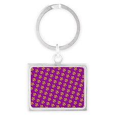 Fluer De Lis With Purple Keychains