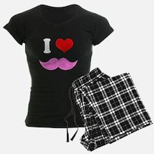 I Heart I Love Pink Mustache Pajamas