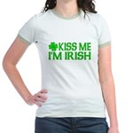 Kiss Me I'm Irish (Light) Jr. Ringer T-Shirt