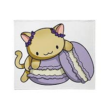 Macaron Kitty Throw Blanket