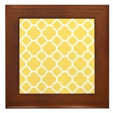 Yellow White Quatrefoil Pattern Framed Tile