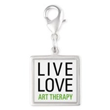 Live Love Art Therapy Silver Square Charm
