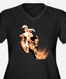 Orange dirtbike Women's Plus Size V-Neck Dark T-Sh