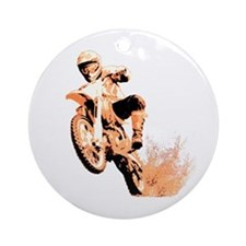 Orange dirtbike Ornament (Round)